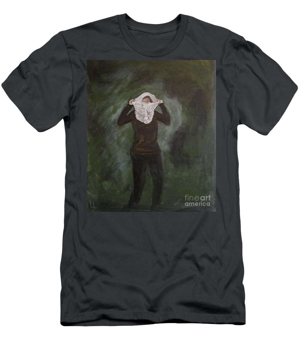 Woman Men's T-Shirt (Athletic Fit) featuring the painting On The Go by Leslie Allen