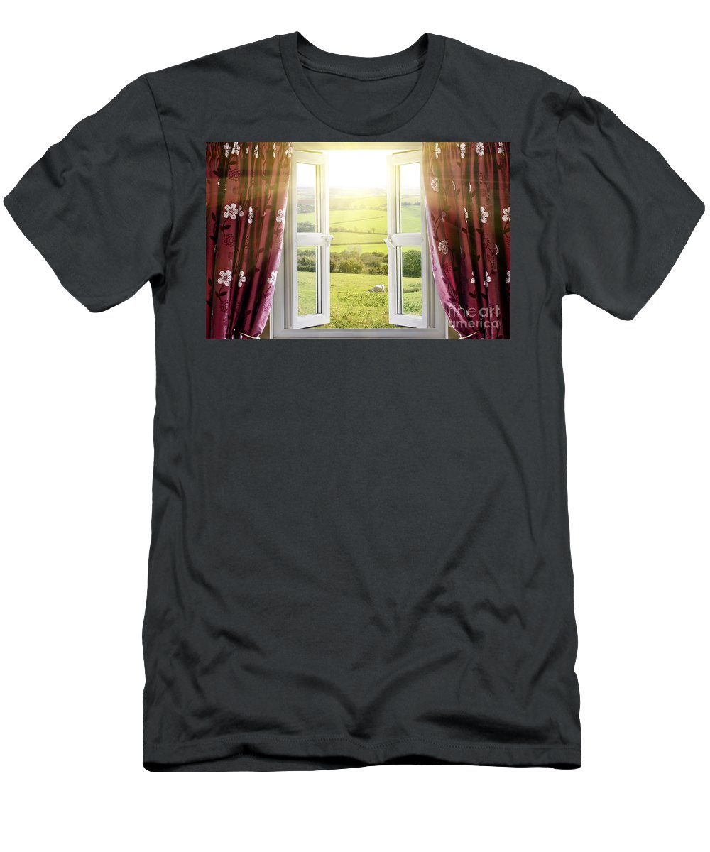 Air Men's T-Shirt (Athletic Fit) featuring the photograph Open Window With Countryside View by Simon Bratt Photography LRPS