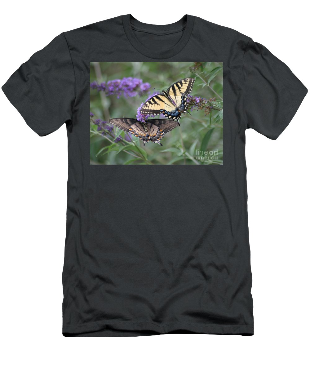 Butterflies Men's T-Shirt (Athletic Fit) featuring the photograph Opposites Attract by Living Color Photography Lorraine Lynch