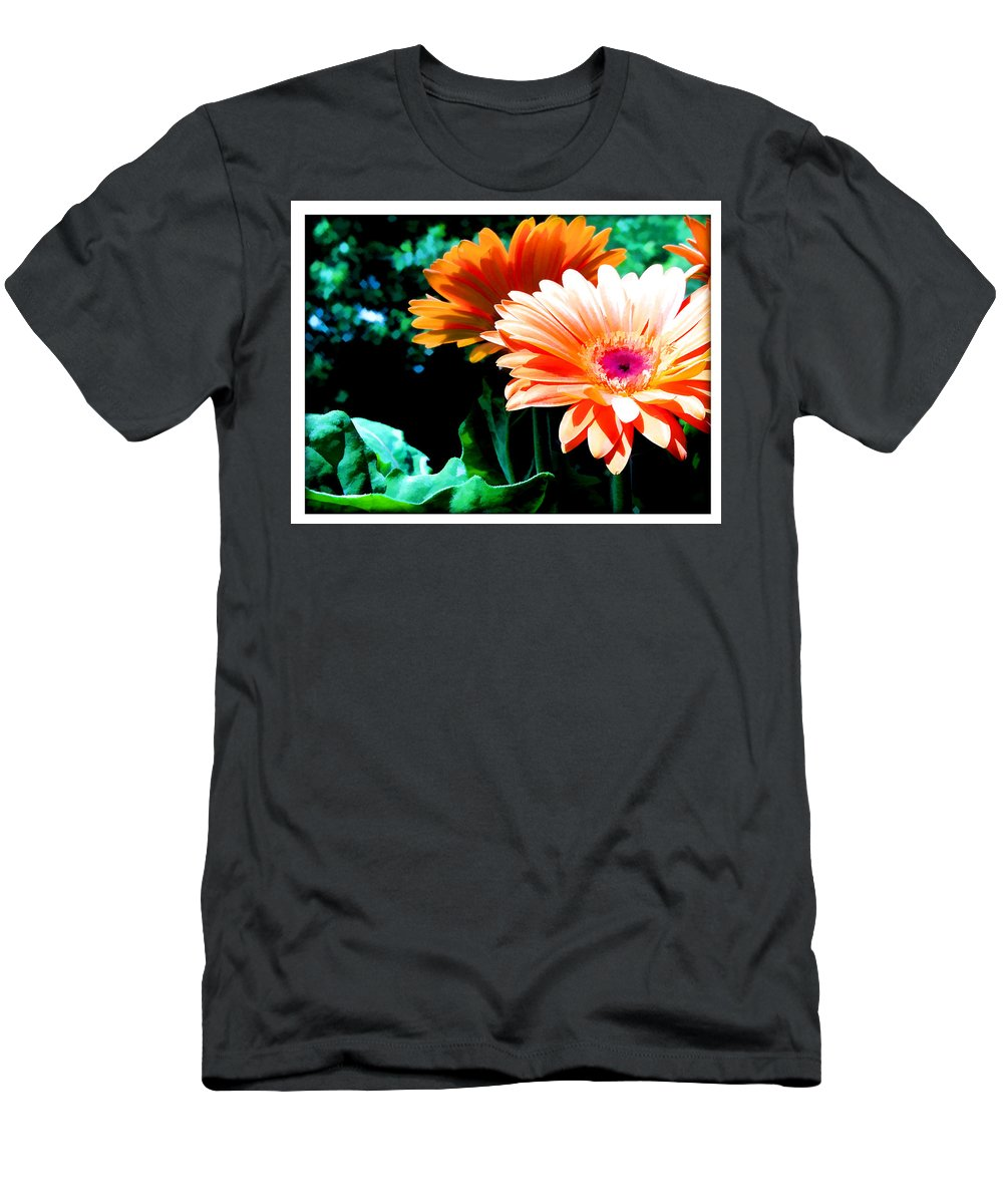 Flower Flowers Daisy Gerber Gerber+daisy Gerber+daisies Daisies Leaf Leaves Garden Flora Floral Nature Natural Bloom Blooms Blossoms Blossom Bouquet Arrangement Colorful Plant Plants Botanical Botanic Blooming Gardens Gardening Tropical Men's T-Shirt (Athletic Fit) featuring the painting Orange Gerber Daisies by Elaine Plesser