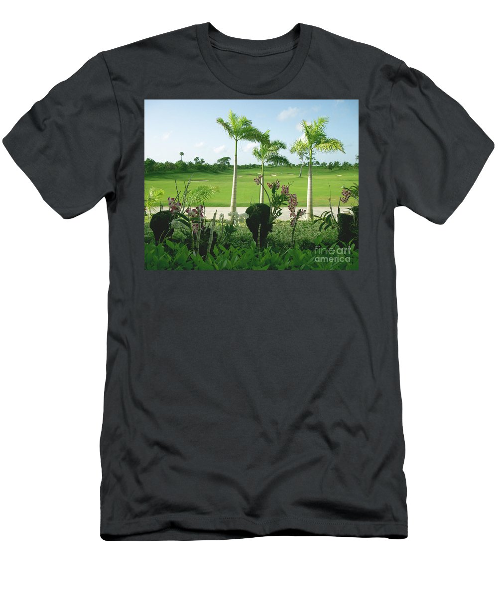 Orchid Men's T-Shirt (Athletic Fit) featuring the photograph Orchids At Iberostar Golf Course In Punta Cana Dr by Heather Kirk