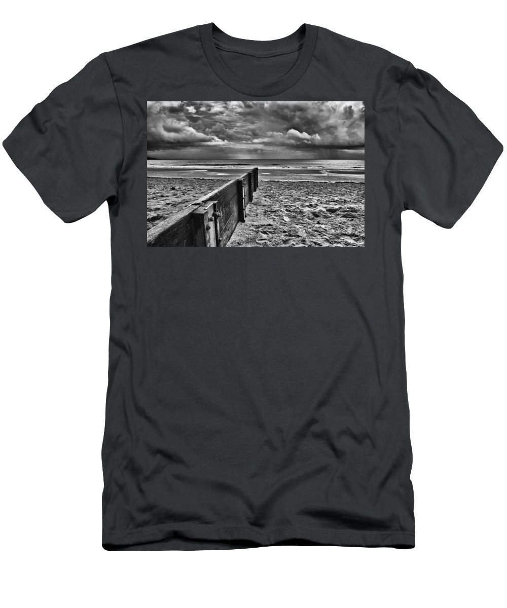 Groyne Men's T-Shirt (Athletic Fit) featuring the photograph Out To Sea Monochrome by Steve Purnell