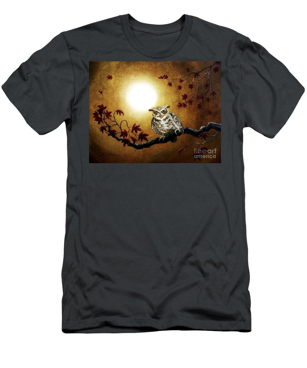 Grunge Men's T-Shirt (Athletic Fit) featuring the digital art Owl In Maple Leaves by Laura Iverson