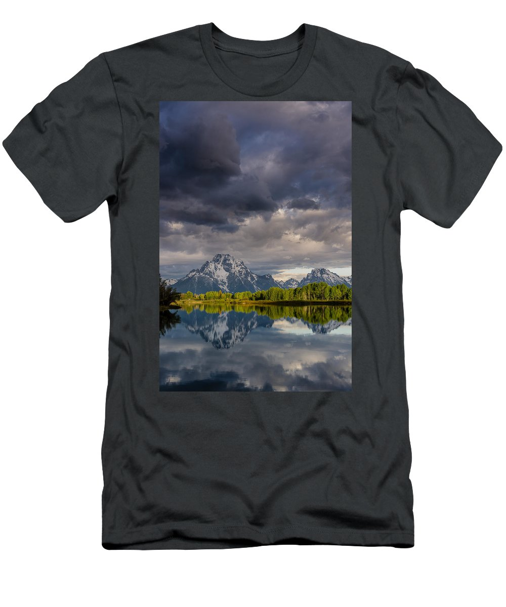 Grand Tetons National Park Men's T-Shirt (Athletic Fit) featuring the photograph Oxbow Light And Clouds by Greg Nyquist