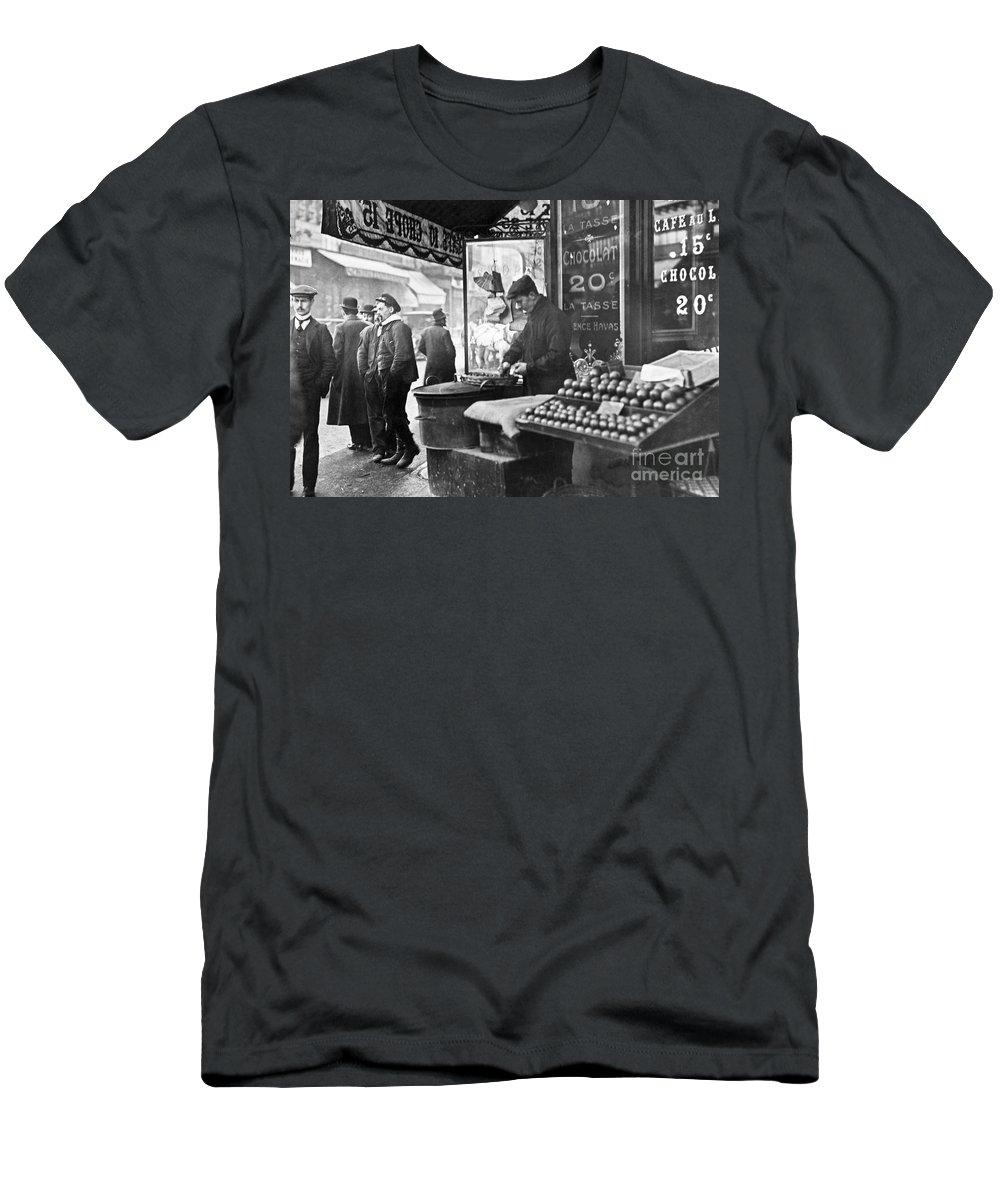 1900 Men's T-Shirt (Athletic Fit) featuring the photograph Paris: Chestnut Vendor by Granger