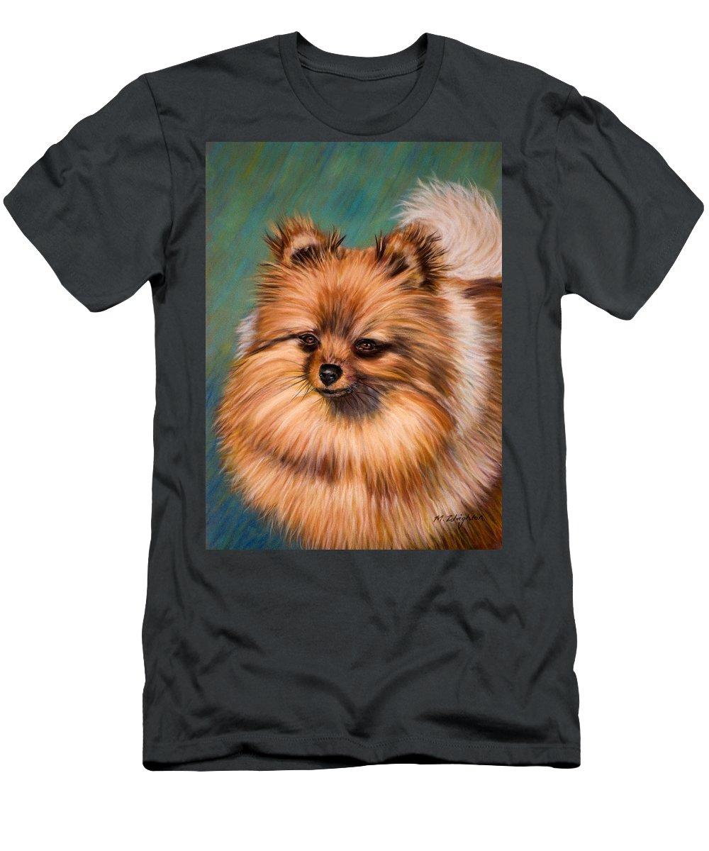 Pomeranian Men's T-Shirt (Athletic Fit) featuring the painting Peaches And Cream by Michelle Wrighton