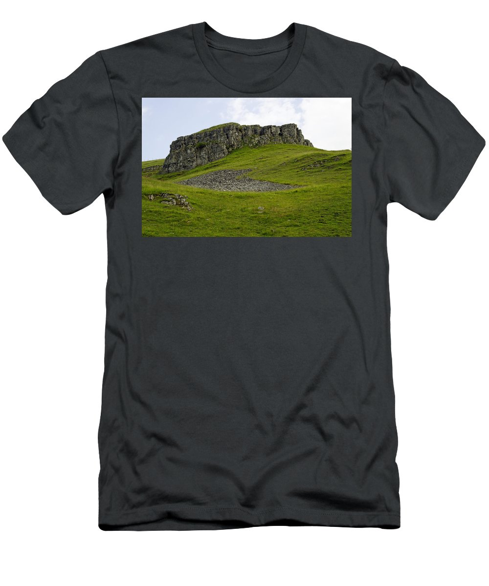 Derbyshire Men's T-Shirt (Athletic Fit) featuring the photograph Peter's Stone - Derbyshire by Rod Johnson