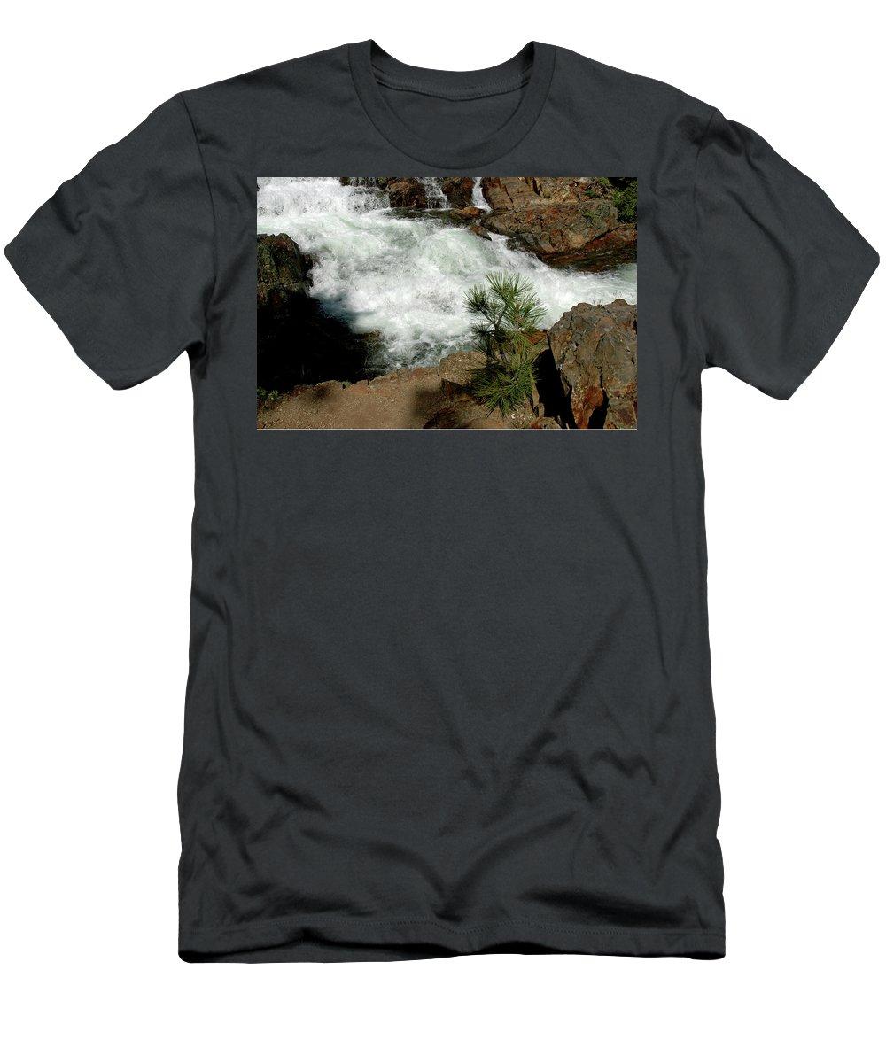 Usa Men's T-Shirt (Athletic Fit) featuring the photograph Pine And Falls Glen Alpine Falls by LeeAnn McLaneGoetz McLaneGoetzStudioLLCcom
