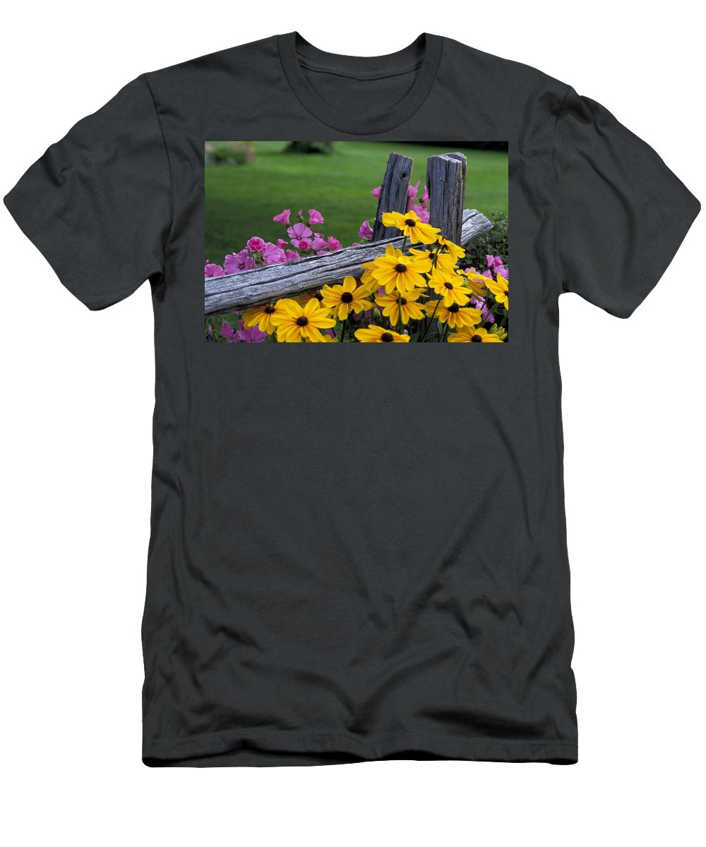 Blossom Men's T-Shirt (Athletic Fit) featuring the photograph Pink And Yellow Flowers by David Chapman