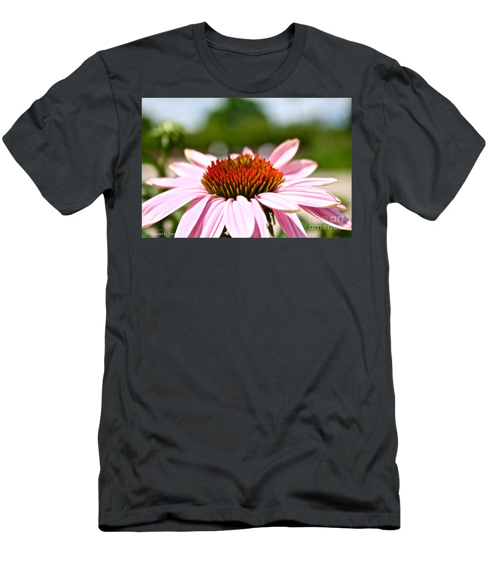 Garden Men's T-Shirt (Athletic Fit) featuring the photograph Pink Cone Flower by Susan Herber
