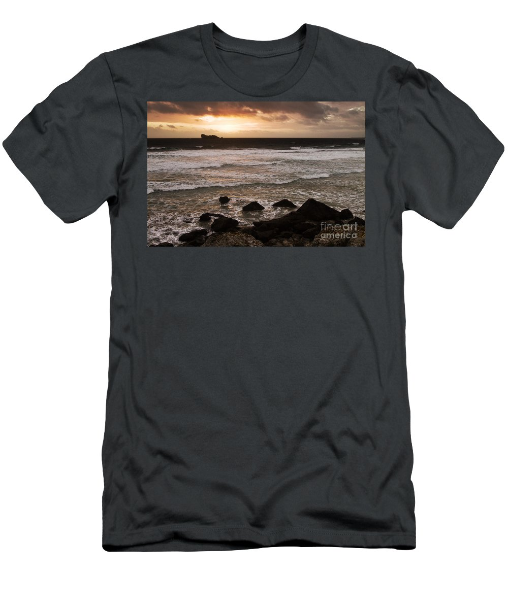Grove Men's T-Shirt (Athletic Fit) featuring the photograph Pink Granite Coast At Sunset by Heiko Koehrer-Wagner