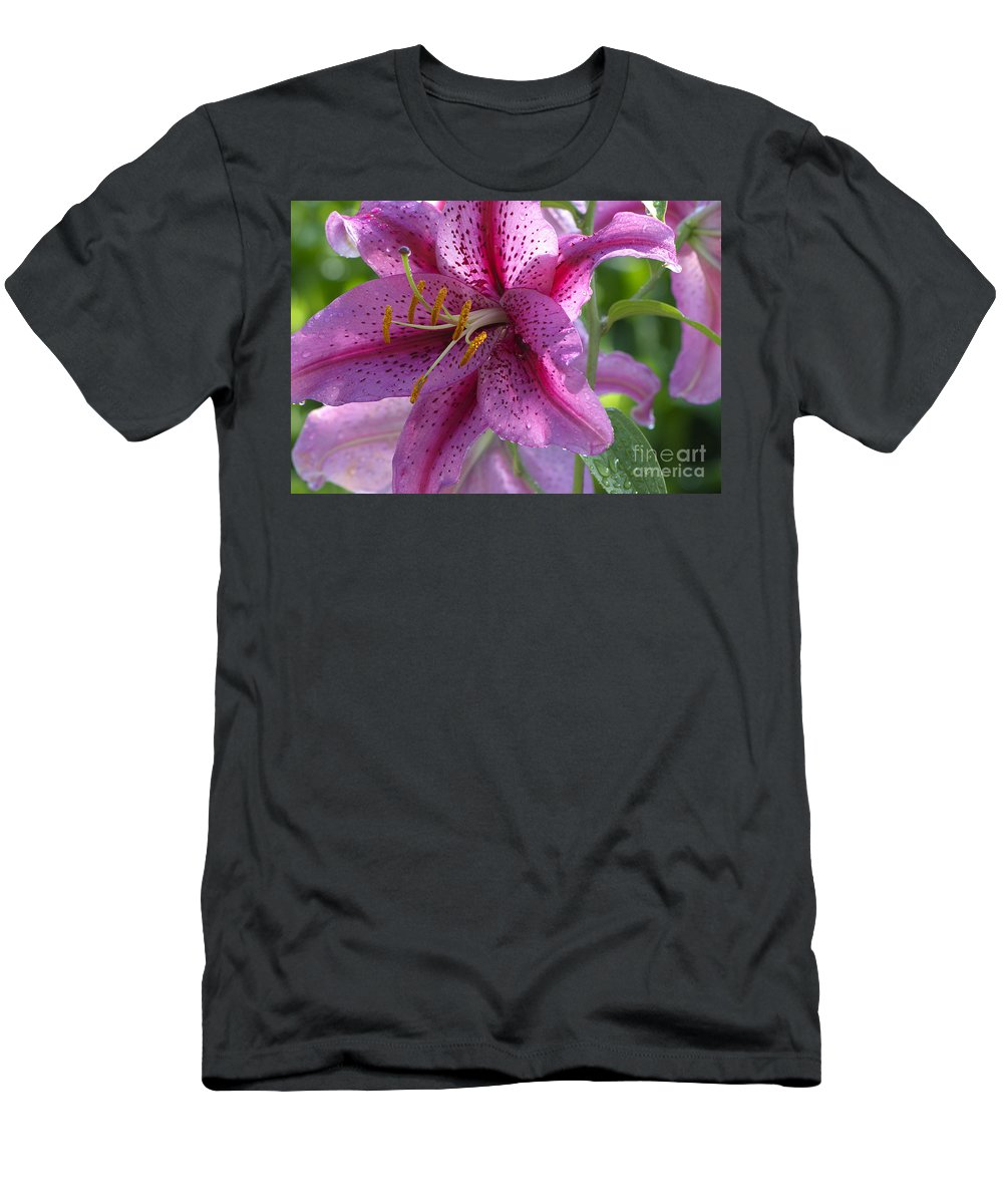 Asiatic Lily Men's T-Shirt (Athletic Fit) featuring the photograph Pink Lily After The Rain by Sharon Talson