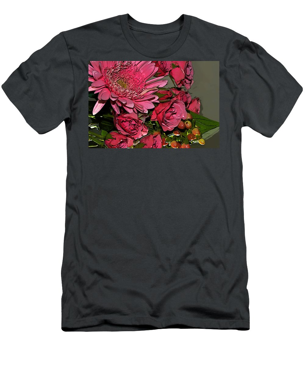 Chrysanthemum Men's T-Shirt (Athletic Fit) featuring the photograph Pink Plus Pink by Phyllis Denton