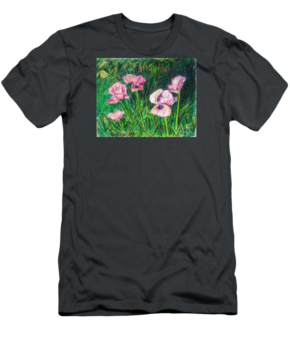 Landscape T-Shirt featuring the painting Pink Poppies by Laurie Morgan