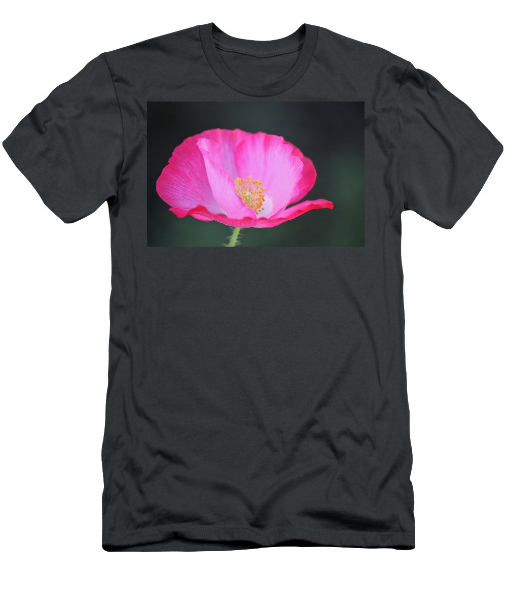 Flowers Men's T-Shirt (Athletic Fit) featuring the photograph Pink Poppy 3 by Diana Hatcher