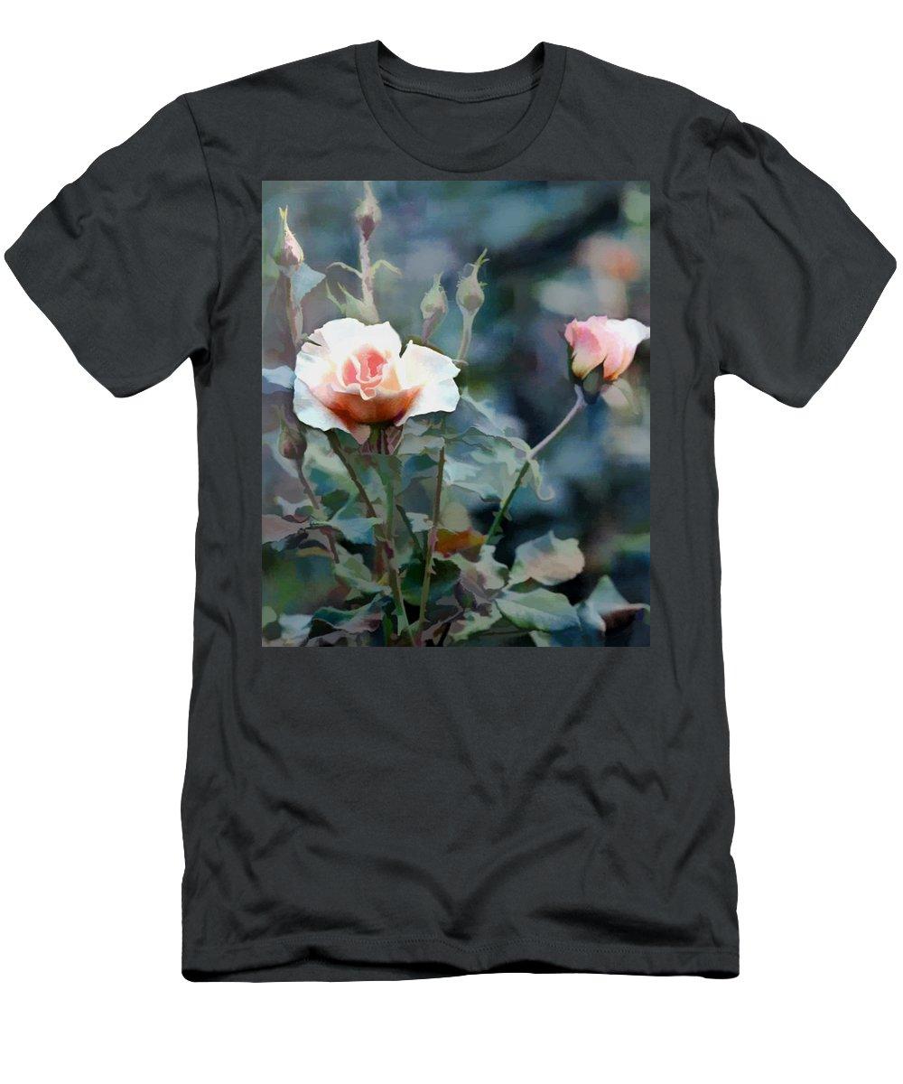 Flower Flowers Garden Rose Rose+bush Roses Pink Rose+bushes Flora Floral Nature Natural Men's T-Shirt (Athletic Fit) featuring the painting Pink Rose Bush by Elaine Plesser