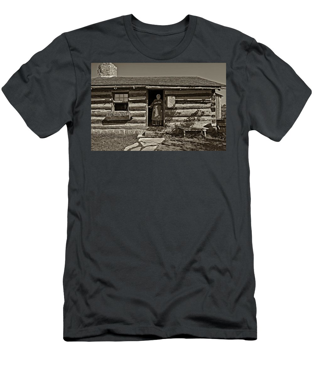 1800's Men's T-Shirt (Athletic Fit) featuring the photograph Pioneer Greeting Monochrome by Steve Harrington
