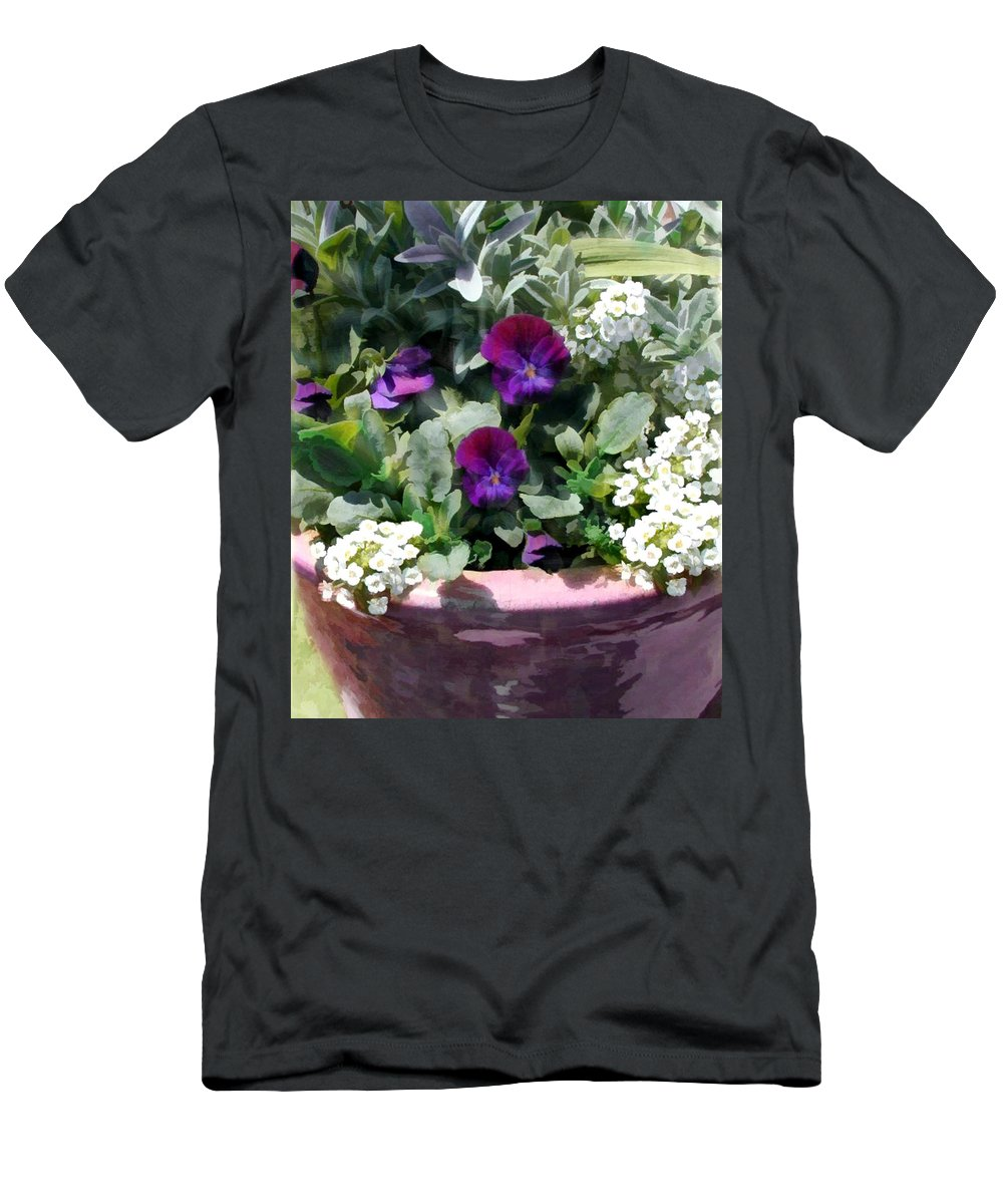 Flower Flowers Pansy Planter Alyssum Garden Flora Floral Nature Natural Pansies Planters Pot Purple White Men's T-Shirt (Athletic Fit) featuring the painting Planter Of Purple Pansies And White Alyssum by Elaine Plesser