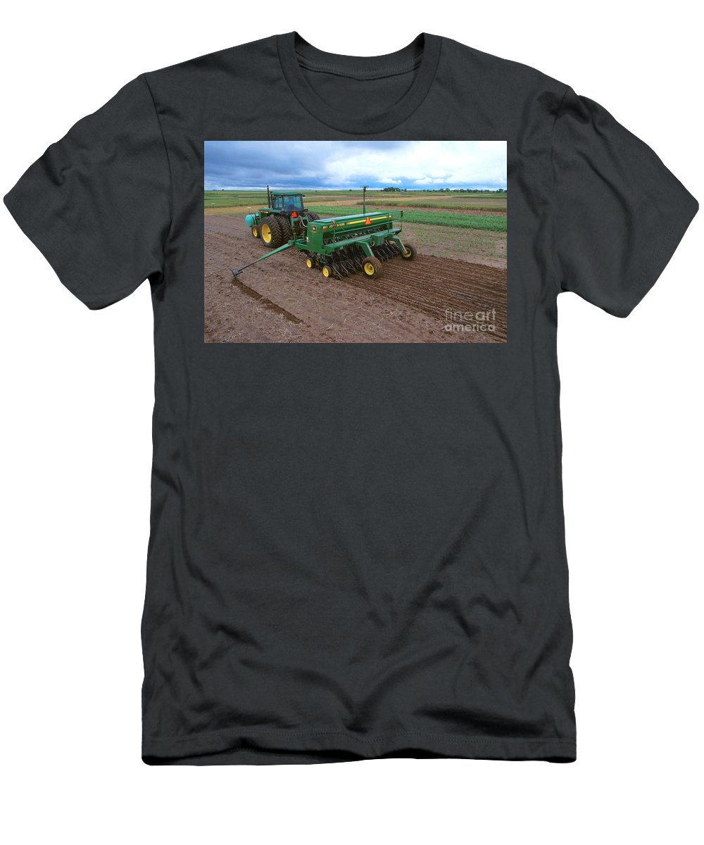 Planting Men's T-Shirt (Athletic Fit) featuring the photograph Planting Foxtail Millet by Photo Researchers