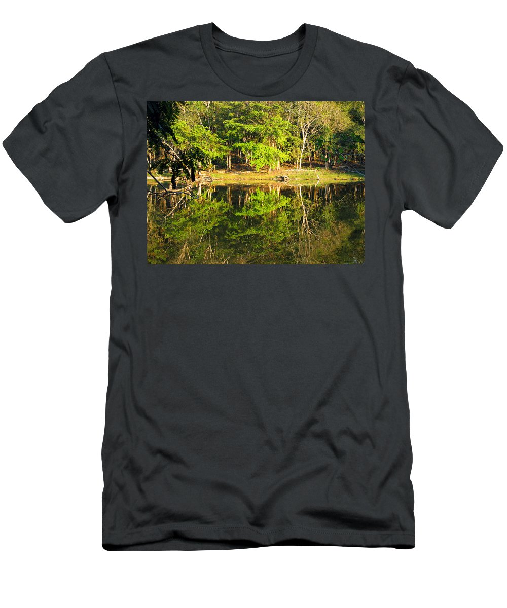 Pond Men's T-Shirt (Athletic Fit) featuring the photograph Pond Reflection Guatemala by Kurt Van Wagner