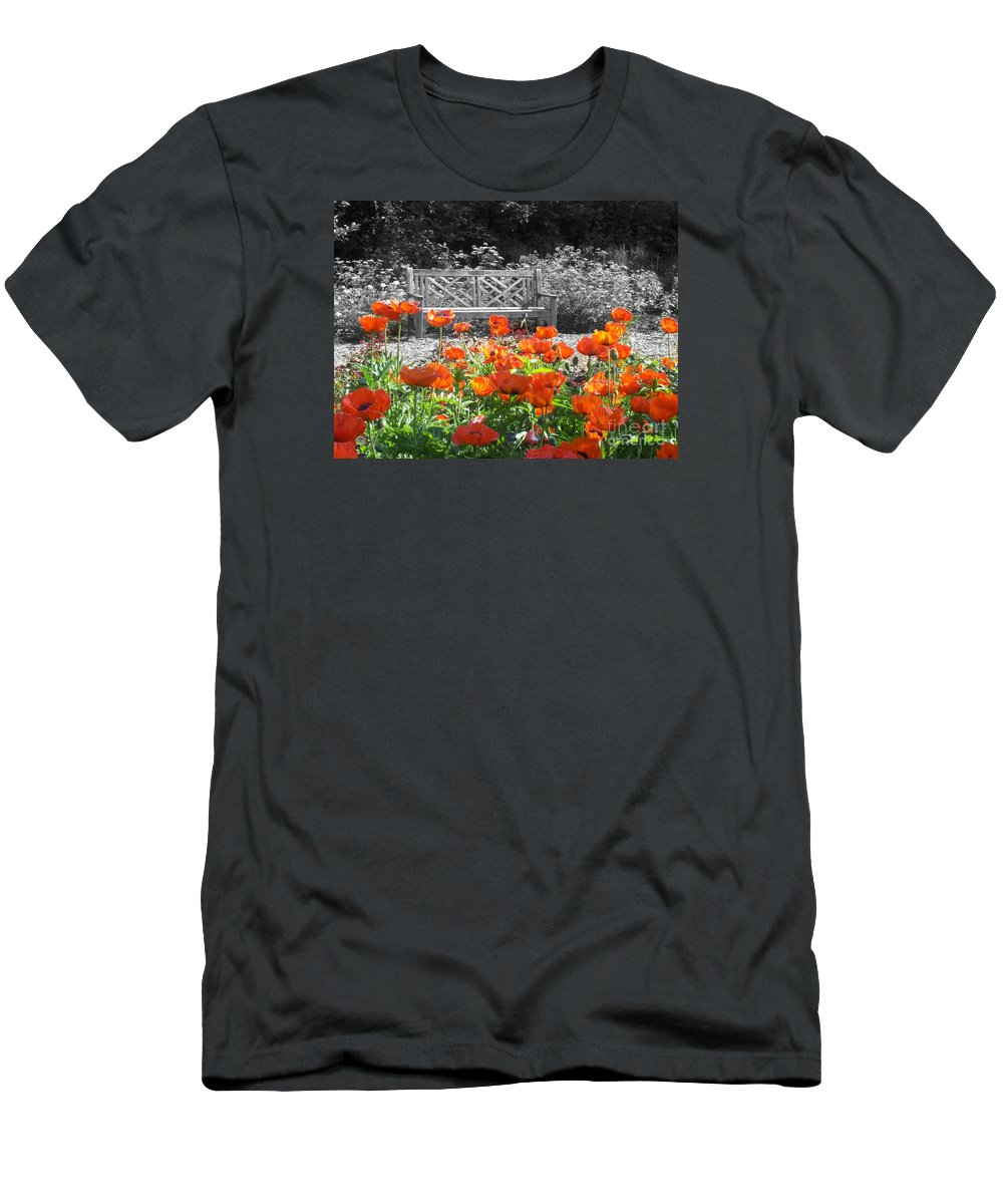 Nature Men's T-Shirt (Athletic Fit) featuring the photograph Poppy Seed Bench by Mary Mikawoz