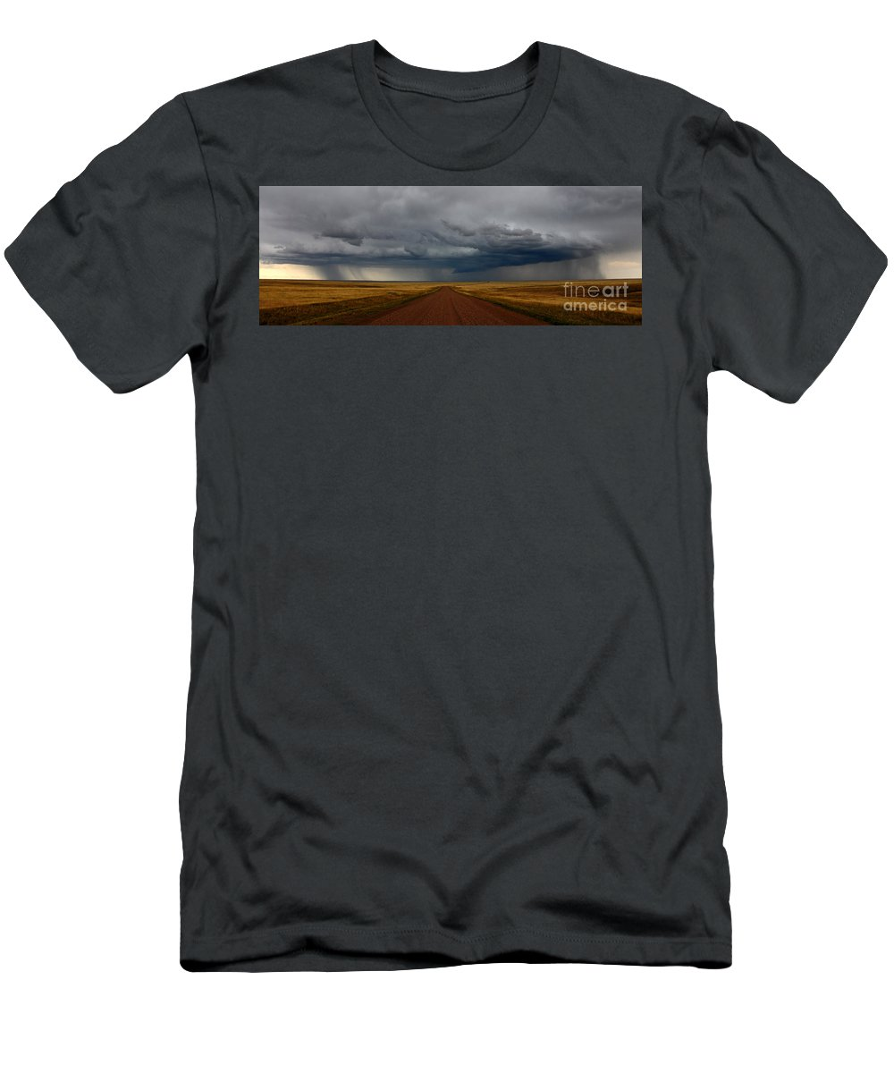 Prairies Men's T-Shirt (Athletic Fit) featuring the photograph Prairie Storm In Canada by Vivian Christopher