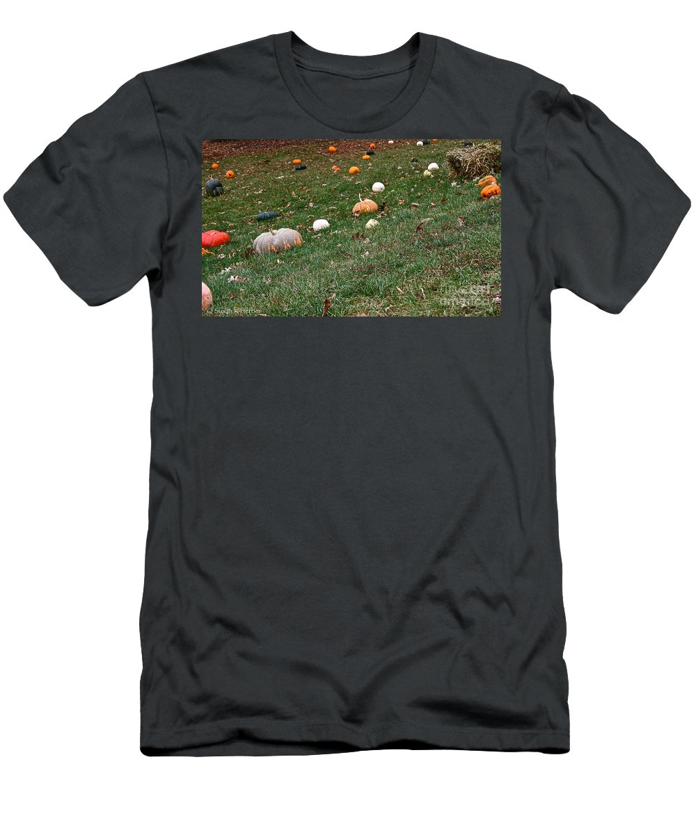 Outdoors Men's T-Shirt (Athletic Fit) featuring the photograph Pumpkins by Susan Herber