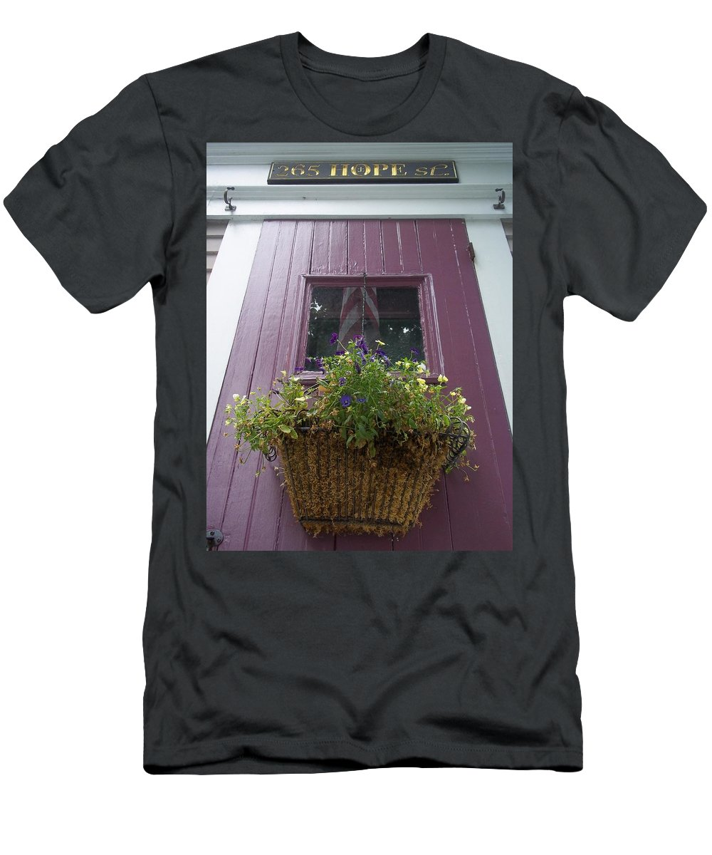 Purple Door Men's T-Shirt (Athletic Fit) featuring the photograph Purple Door by Cynthia Amaral