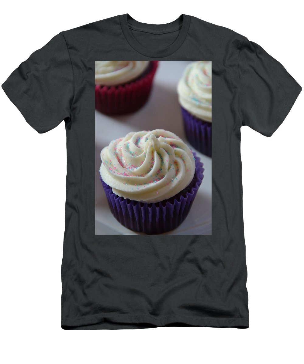 Cupcake Men's T-Shirt (Athletic Fit) featuring the photograph Purple Vanilla by Bonnie Myszka