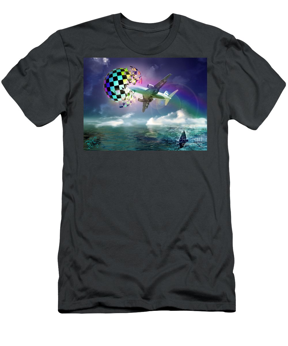 Airplane Men's T-Shirt (Athletic Fit) featuring the digital art Rainbow Set Free by Rosa Cobos