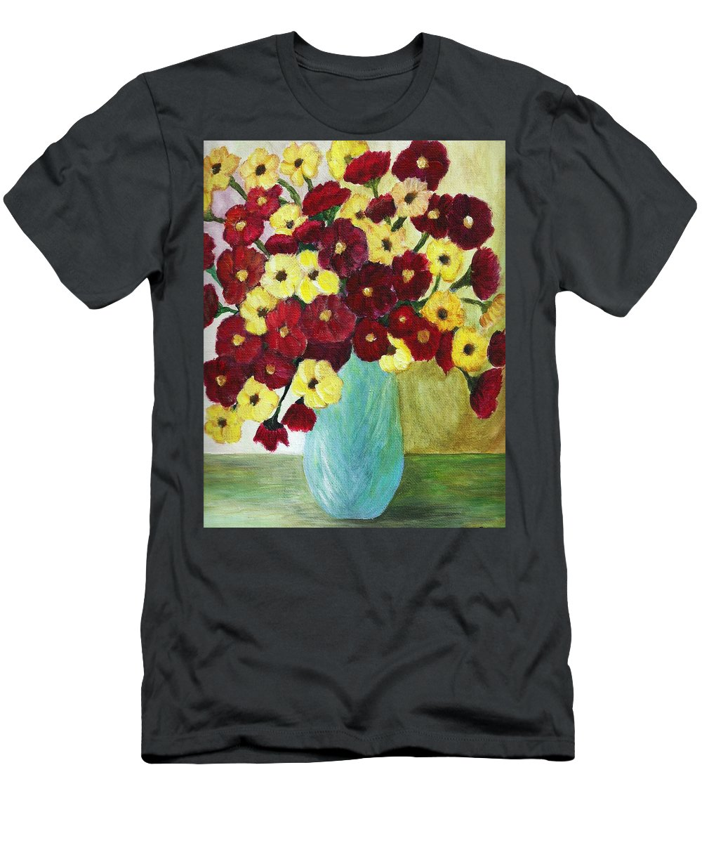Red And Yellow Bouquet Of Flowers Men's T-Shirt (Athletic Fit) featuring the painting Red And Yellow Bouquet In Blue by Christy Saunders Church