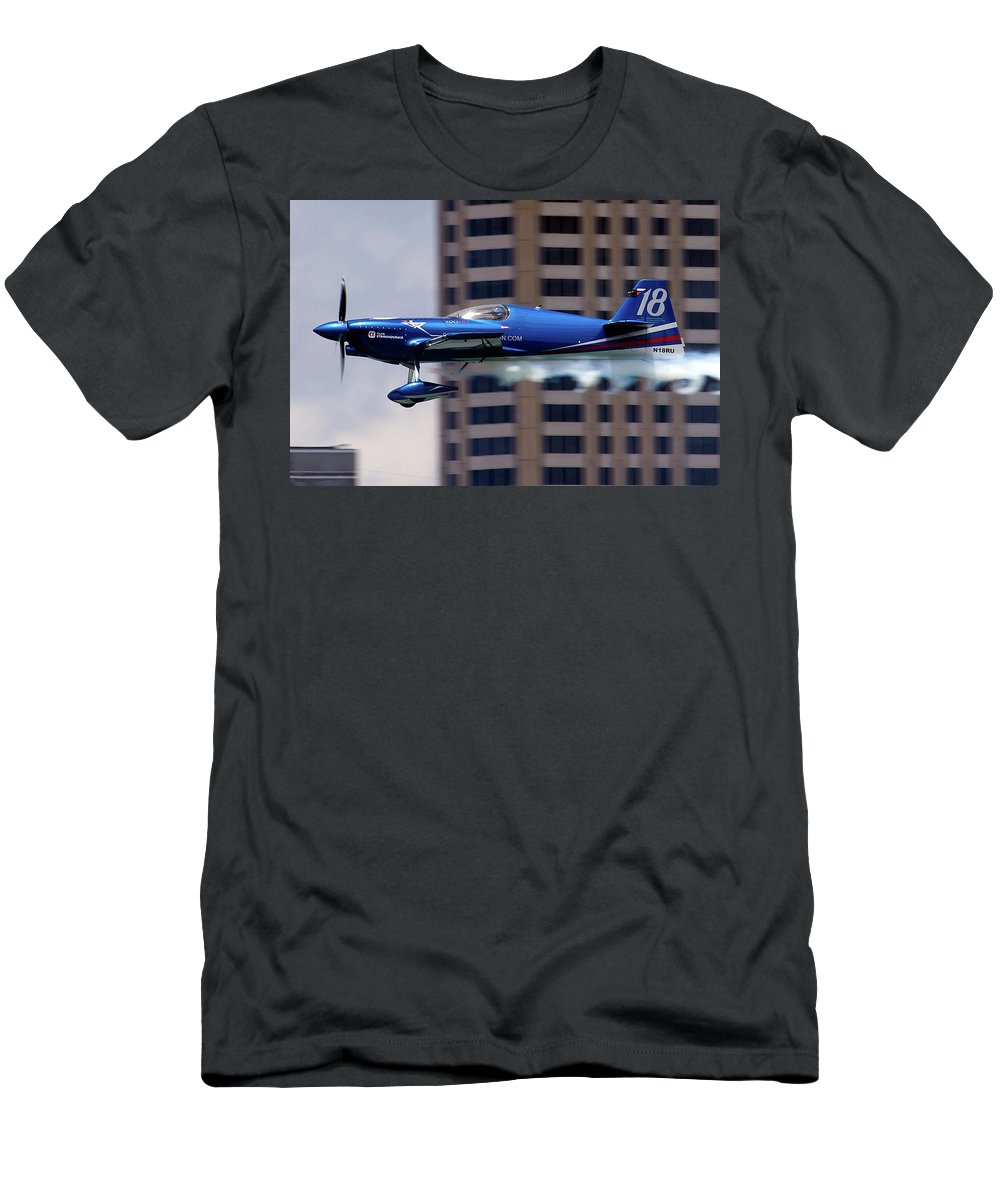 Airshows Men's T-Shirt (Athletic Fit) featuring the photograph Red Bull Racer by Bill Lindsay