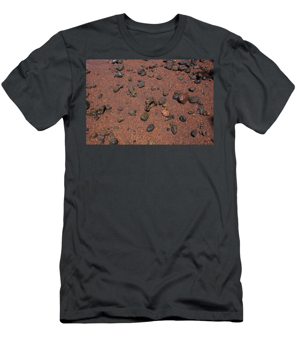 Abstract Men's T-Shirt (Athletic Fit) featuring the photograph Red Sand And Rocks by Ron Dahlquist - Printscapes