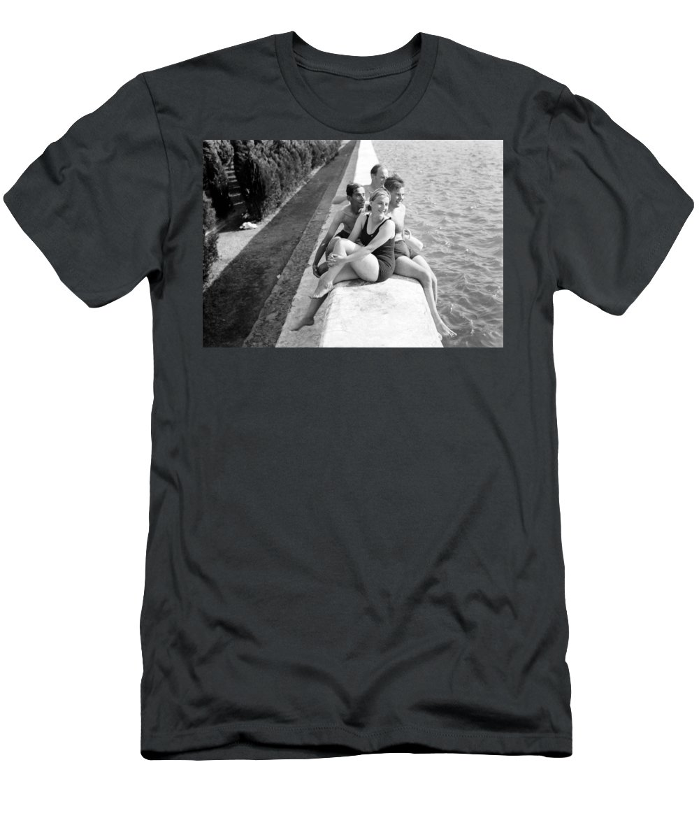 Solomon's Pools Men's T-Shirt (Athletic Fit) featuring the photograph Rest Time 1946 by Munir Alawi
