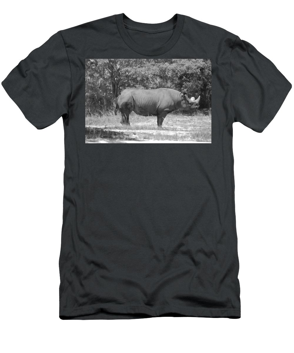 Animal Men's T-Shirt (Athletic Fit) featuring the photograph Rhino In Black And White by Rob Hans