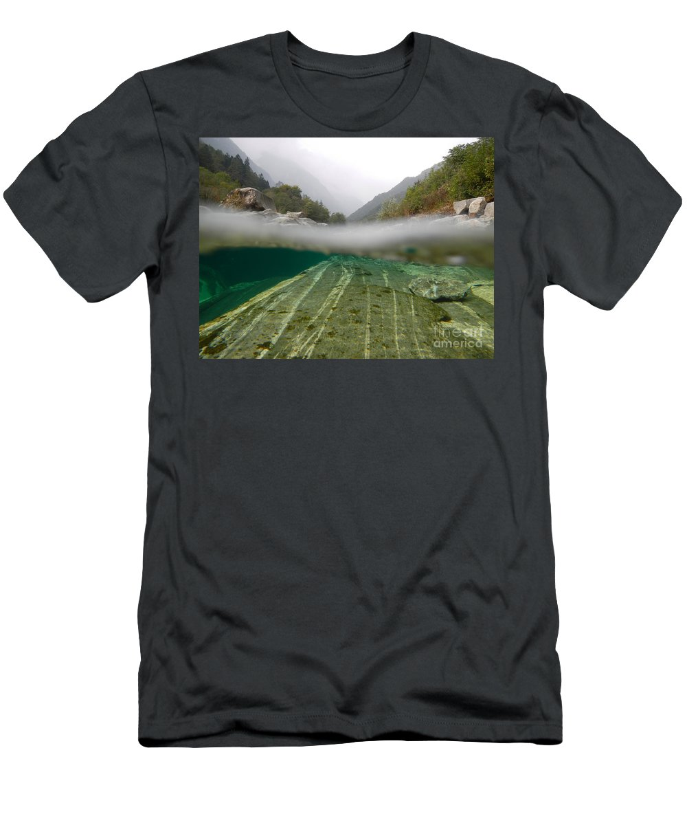 Under The Water Men's T-Shirt (Athletic Fit) featuring the photograph River Surface by Mats Silvan