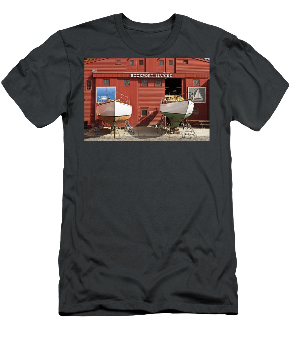 Boat Builder Men's T-Shirt (Athletic Fit) featuring the photograph Rockport Marine by John Greim