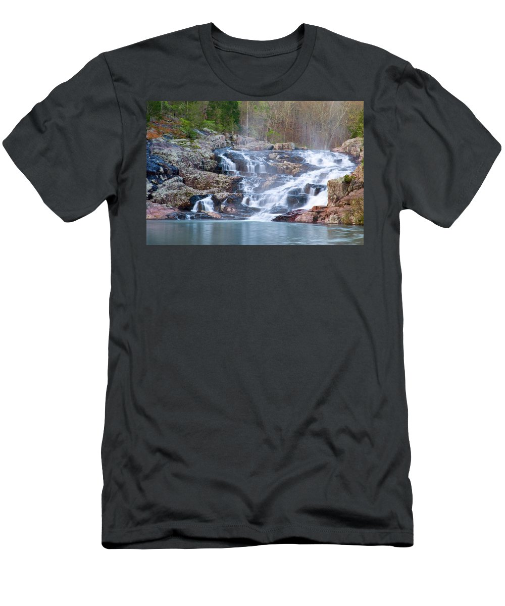 Missouri Men's T-Shirt (Athletic Fit) featuring the photograph Rocky Falls by Steve Stuller
