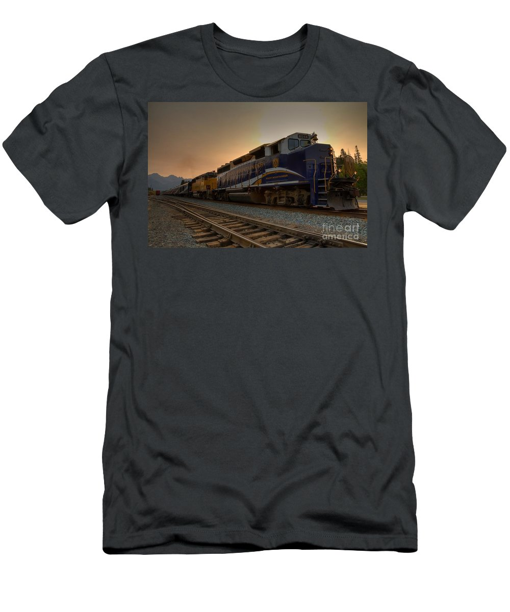 Banff Men's T-Shirt (Athletic Fit) featuring the photograph Rocky Mountaineer Halo by James Anderson