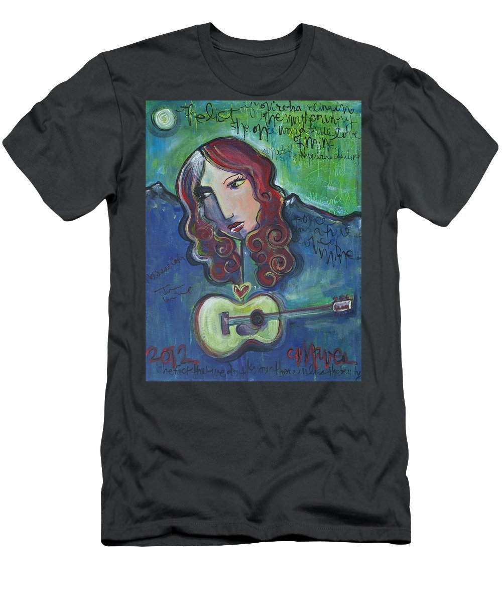 Roseanne Cash Men's T-Shirt (Athletic Fit) featuring the painting Roseanne Cash by Laurie Maves ART