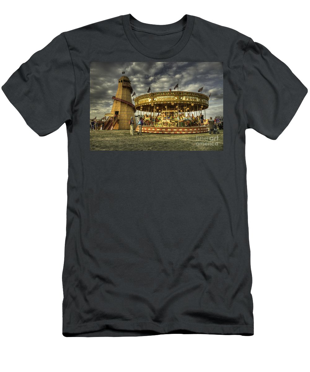 Carousel Men's T-Shirt (Athletic Fit) featuring the photograph Round And Round by Rob Hawkins