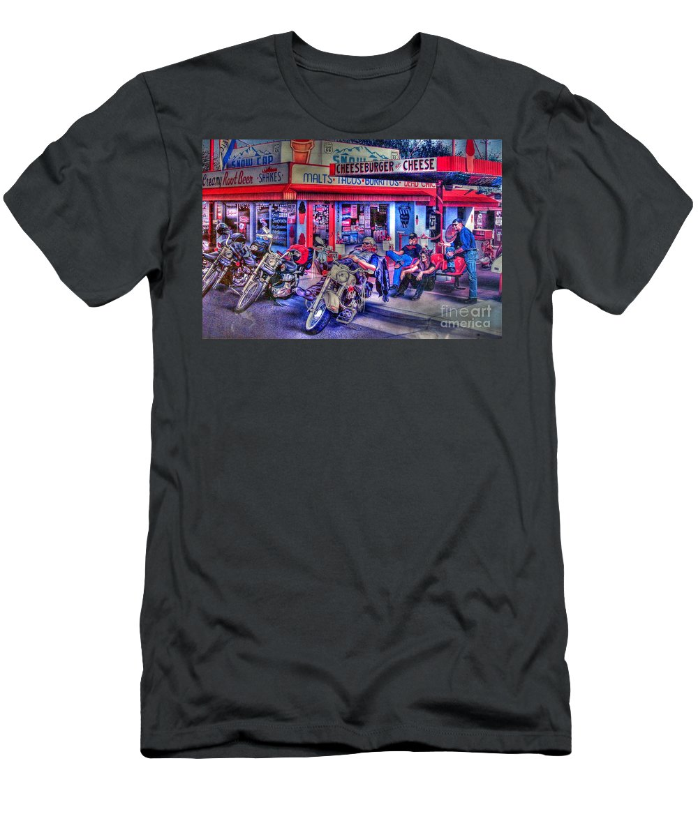 Route 66 T-Shirt featuring the photograph Route 66 Motorcycle Wall Art by Tommy Anderson