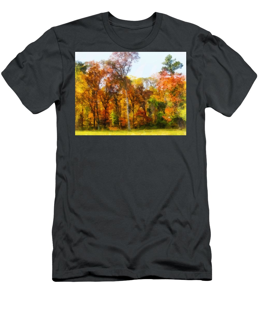 Autumn Men's T-Shirt (Athletic Fit) featuring the photograph Row Of Autumn Trees by Susan Savad