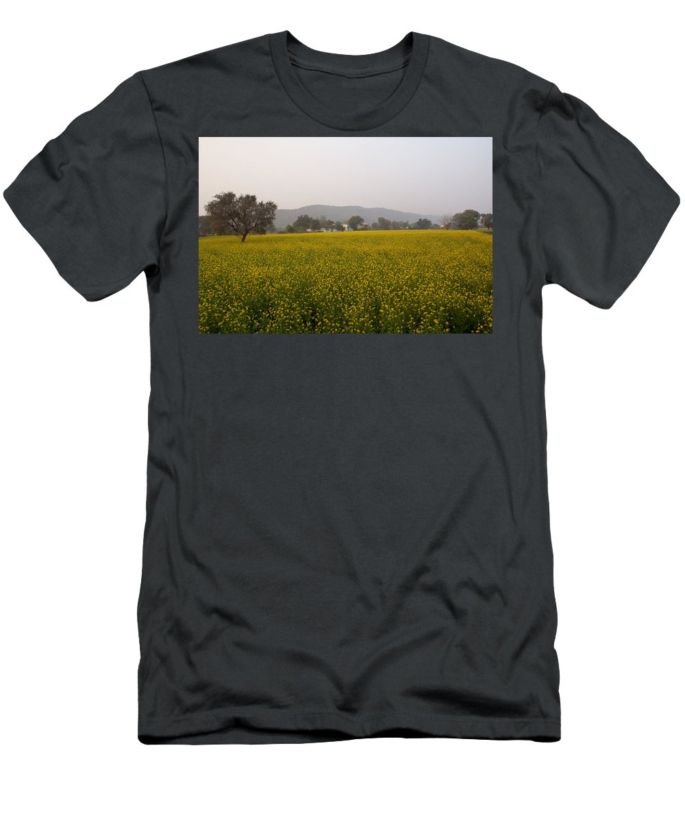 Farm Men's T-Shirt (Athletic Fit) featuring the photograph Rural Landscape With A Field Of Mustard by Ashish Agarwal