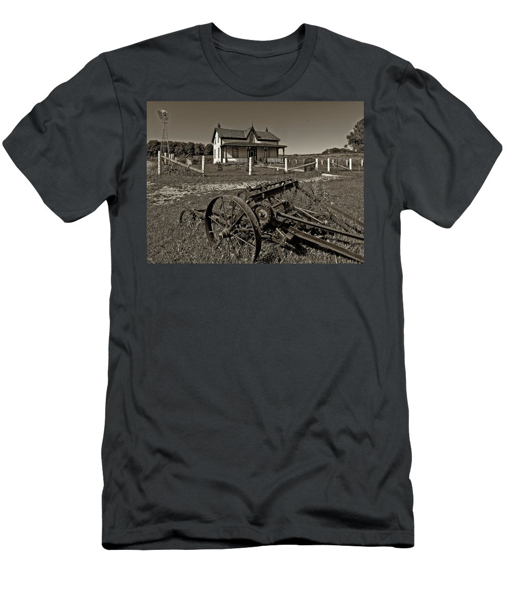 Grey Roots Museum & Archives Men's T-Shirt (Athletic Fit) featuring the photograph Rural Ontario Sepia by Steve Harrington