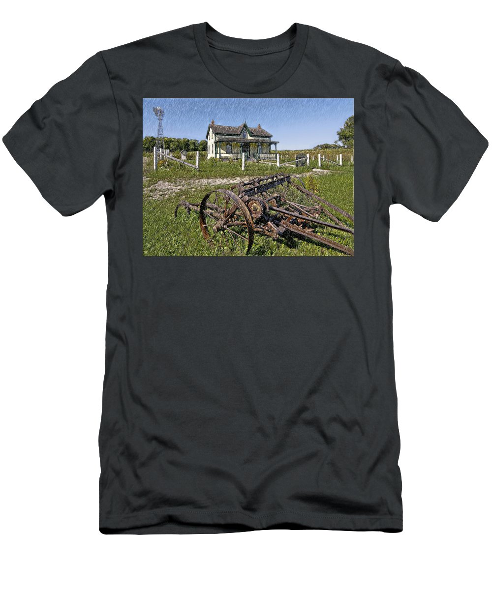 Grey Roots Museum & Archives Men's T-Shirt (Athletic Fit) featuring the photograph Rural Ontario Sketch by Steve Harrington