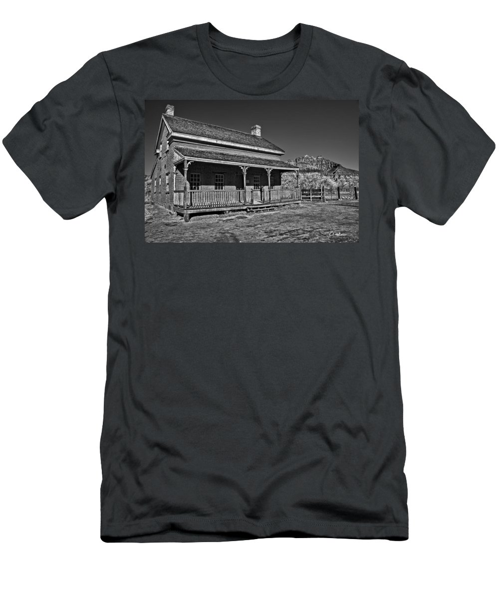Structure Men's T-Shirt (Athletic Fit) featuring the photograph Russell Home - Bw by Christopher Holmes