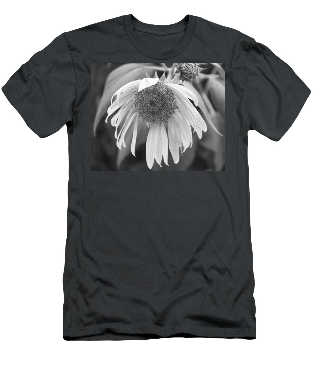 Floral Men's T-Shirt (Athletic Fit) featuring the photograph Sad Sunflower Black And White by James BO Insogna