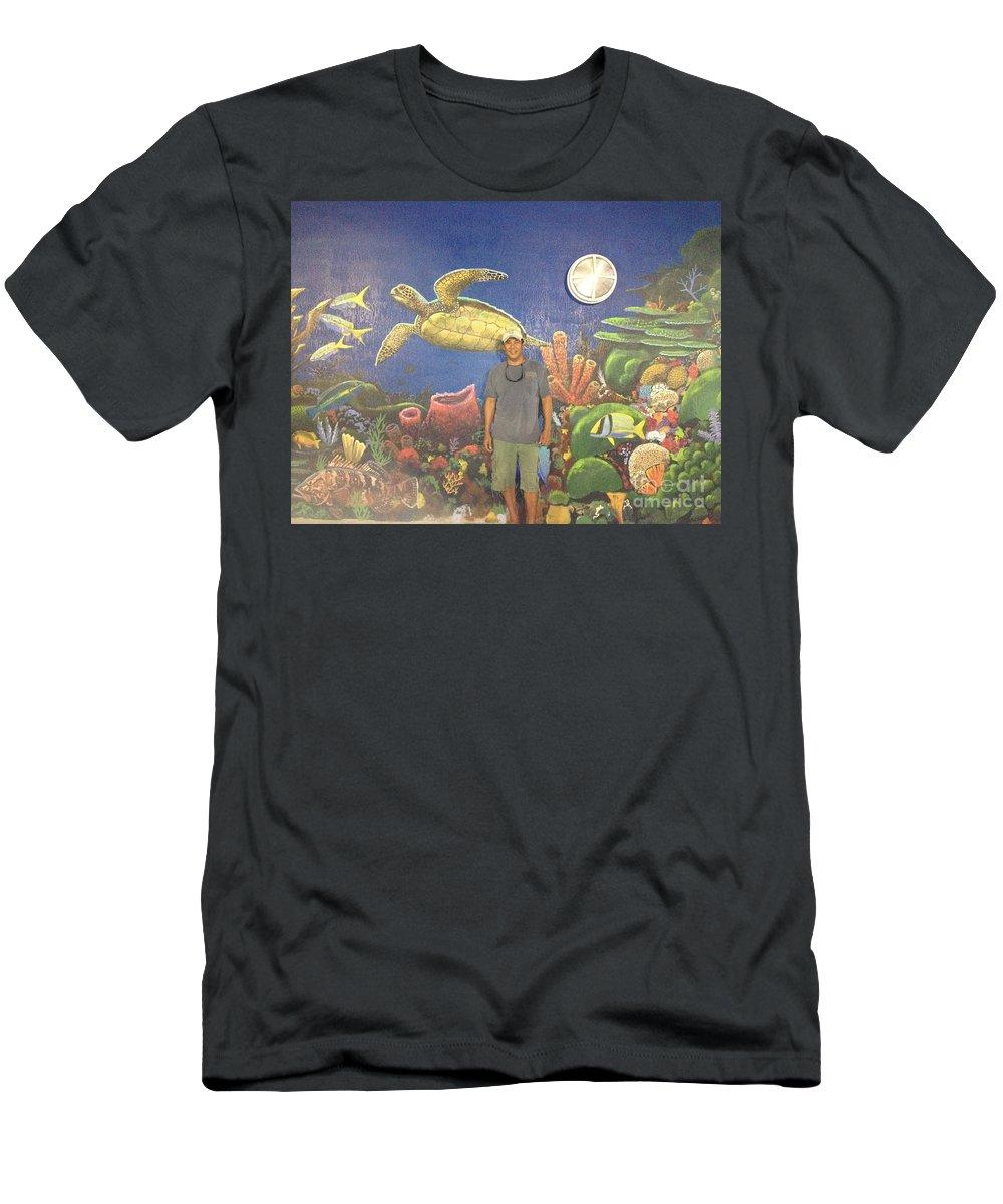 Sailfish Splash Park Men's T-Shirt (Athletic Fit) featuring the painting Sailfish Splash Park Mural 7 by Carey Chen