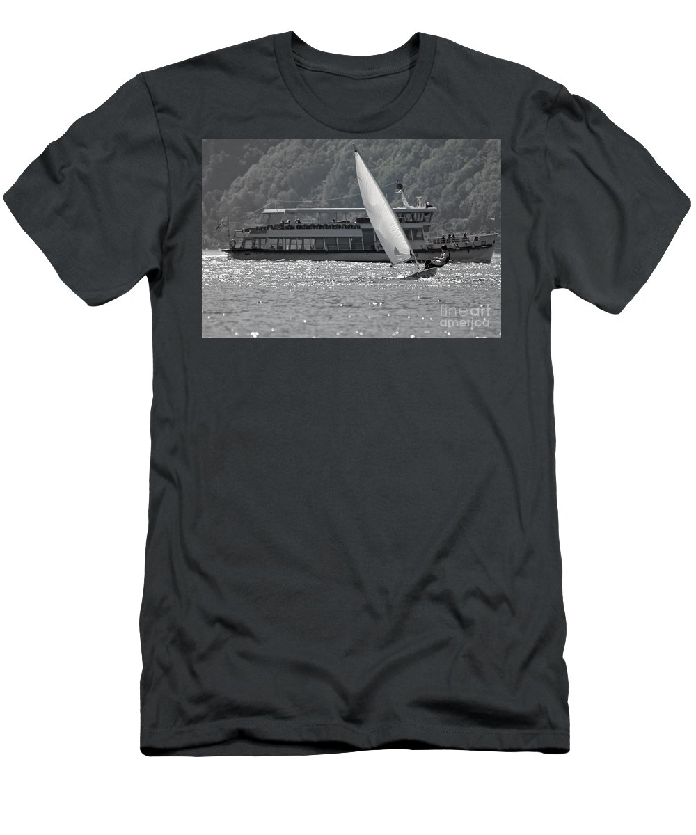 Sailing Boat Men's T-Shirt (Athletic Fit) featuring the photograph Sailing Boat And Passenger Boat by Mats Silvan